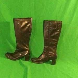 Aerosoles sz 8.5 black zipper calf length boots
